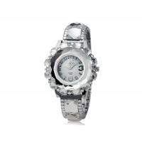 Женская Круглый циферблат Кристалл Украшение аналоговый кварцевые часы (серебро)