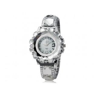 Женская Круглый циферблат Кристалл Украшение аналоговый кварцевые часы (серебро) модель YW1009S