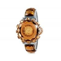 Женщины`ы украшение Crystal круглый Циферблат аналоговые Кварцевые часы (коричневый)
