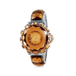 Женщины`ы украшение Crystal круглый Циферблат аналоговые Кварцевые часы (коричневый) модель YW1009X