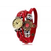 Е-лы E025 женщины`ы цветочные украшения круглый Циферблат аналоговых часов (Красный)