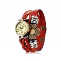 Е-лы E025 женщины`ы цветочные украшения круглый Циферблат аналоговые часы (темно-русый)