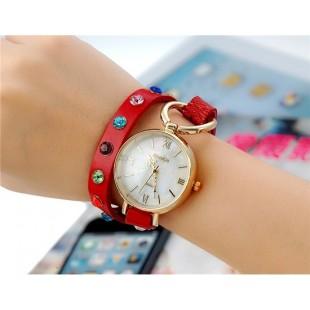 Женщины`ы Винтаж аналоговые часы с циферблатом Shell &амп; Кристалл оформлен ремешком (Красный) М. модель YW1500R