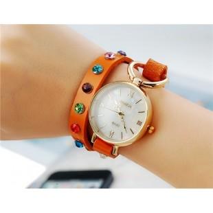 Женщины`ы Винтаж аналоговые часы с циферблатом Shell &амп; Кристалл оформлен ремешком (коричневый) М. модель YW1500X