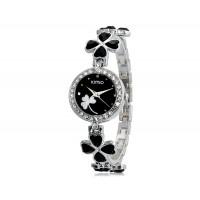 KIMIO 456 Женская модная Аналоговые часы с Clover Design ремешок (черный) М.