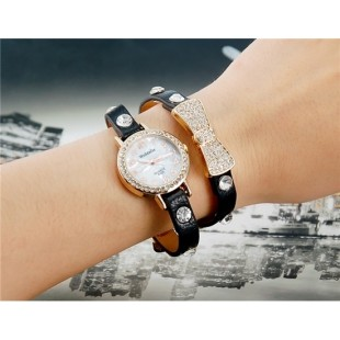 WoMaGe B025 Женская Bowknot Кристалл Награжден Аналоговые часы браслет (черный) М. модель YW1924B