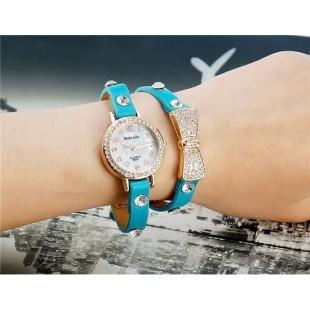 Womage B025 Женская Bowknot Кристалл Награжден Аналоговые часы браслет (синий) М. модель YW1924L
