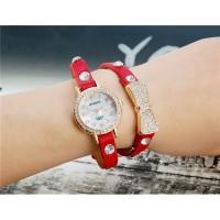 Womage B025 Женская Bowknot Кристалл Награжден Аналоговые часы браслет (красный) М.