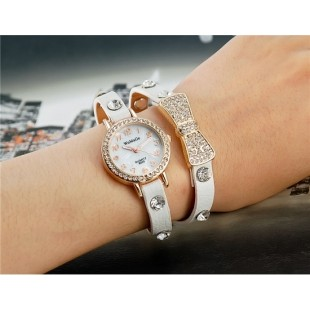 WoMaGe B025 Женская Bowknot Кристалл Награжден Аналоговые часы браслет (белый) М. модель YW1924W