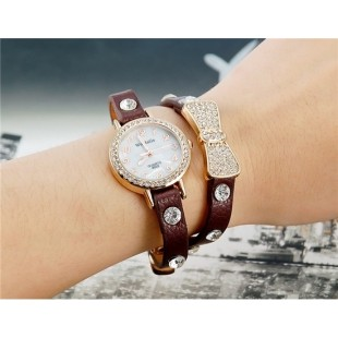 WoMaGe B025 Women`s Bowknot Crystal Decorated Analog Watch Bracelet (Brown) M.  модель YW1924X