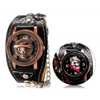 Аниме один кусок Стиль панк мужская круглый аналоговые часы с faux флип Кожаный ремешок М.