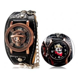 Аниме один кусок Стиль панк мужская круглый аналоговые часы с faux флип Кожаный ремешок М. модель YW1944B