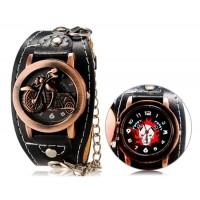 Панк-Стиль унисекс мотоцикл распечатать круглый аналоговые часы с faux флип Кожаный ремешок М.
