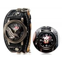 Купить Панк-Стиль унисекс Орел печати круглые аналоговые флип часы с искусственного Кожаный ремешок М.