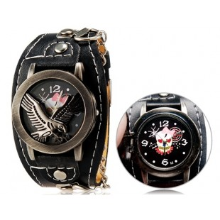 Панк-Стиль унисекс Орел печати круглые аналоговые флип часы с искусственного Кожаный ремешок М. модель YW1946B