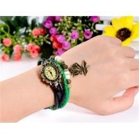 ЦС-0497 винтажный Стиль женщины`ы Кристалл оформлен круглый Циферблат аналоговые часы браслет с Роза Подвеска (зеленый)