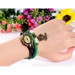ЦС-0497 винтажный Стиль женщины`ы Кристалл оформлен круглый Циферблат аналоговые часы браслет с Роза Подвеска (зеленый) модель YW2563G
