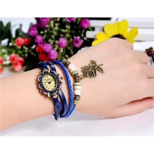 ЦС-0497 винтажный Стиль женщины`ы Кристалл оформлен круглый Циферблат аналоговые часы браслет с Роза Подвеска (синий) модель YW2563L