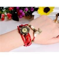 CA-0499 Vintage Style Женские Круглый циферблат аналогового Watch браслет с бабочкой Подвеска (красный)