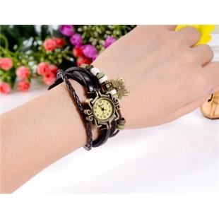 ЦС-0500 винтажный Стиль женщины`ы круглый Циферблат аналоговые часы браслет с кулоном-бабочкой (коричневый) модель YW2564X