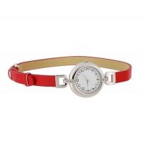 Уиллис y002s женщин серебристый корпус красный кожаный ремешок часы (красный )