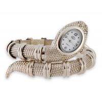 Змея Shaped браслет часы (серебро)