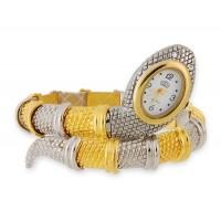 Змея Shaped Часы-браслет (серебро и Золотой)