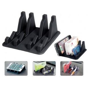 Противоскользящий силиконовый коврик-держатель сотового телефона (черный)