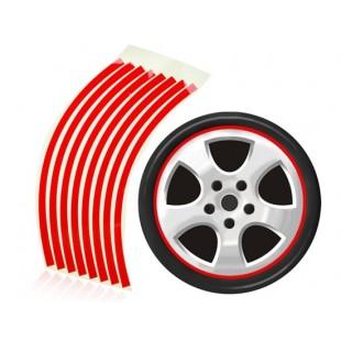Красные светоотражающие полоски - наклейки для колес легковых автомобилей