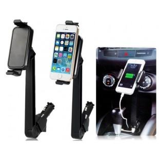 Универсальный автомобильный держатель телефона с  USB портами вставляется в прикуриватель