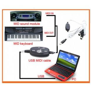 USB MIDI-кабель МИДИ адаптер длинной 2 метра для подключения синтезатора к компьютеру