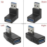 Угловой переходник (адаптер) USB 3.0 A-папа-мама (черный)
