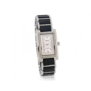 GEMAX 6213 площади набора Faux керамических мужские часы с бриллиантом украшения (серебро)