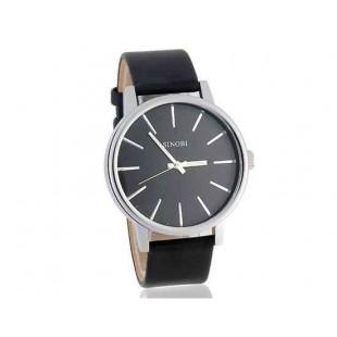 SINOBI 9213 Мужские кварцевые часы с кожаным ремешком (черный)