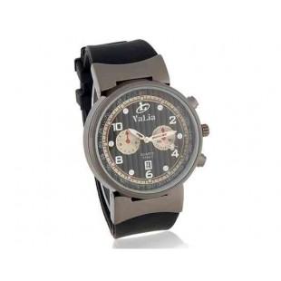 Валя 8196-1 Мужская Круглый циферблат Аналоговые часы с каучуковый ремешок (черный)