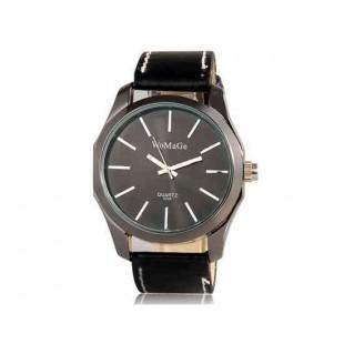 WoMaGe Аналоговые часы с искусственной кожи ремешок (черный)