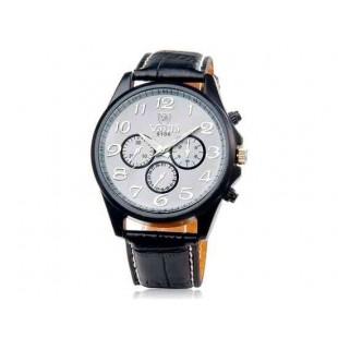 VALIA 9106 Мужские кварцевые аналоговые часы с искусственного кожаный ремешок (черный)