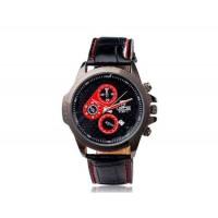 VALIA 9108-1 Мужские кварцевые аналоговые часы с искусственного кожаный ремешок (черный)