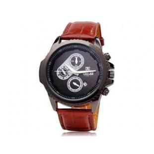 VALIA 9108-1 Мужские кварцевые часы Аналоговые движение с искусственного кожаный ремешок (коричневый)