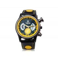VALIA 9102-1 мужские кварцевые аналоговые часы с искусственной кожаный ремешок (желтый)