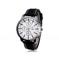 VALIA  9110 Круглый циферблат Аналоговые часы с силиконовым ремешком (белый)