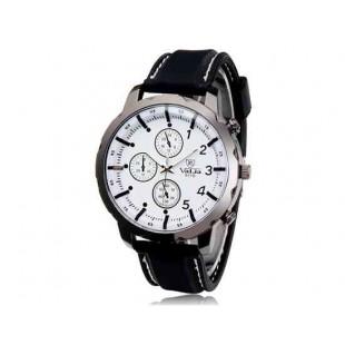 Валя 9110 Круглый циферблат Аналоговые часы с силиконовым ремешком (белый)