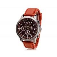 VALIA  9110 Круглый циферблат Аналоговые часы с силиконовым ремешком (коричневый)