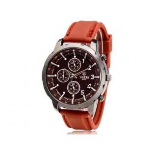Валя 9110 Круглый циферблат Аналоговые часы с силиконовым ремешком (коричневый)