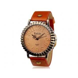 Валя 6548 Урожай круглый циферблат Аналоговые часы с Faux кожаный ремешок (Темно-русый)