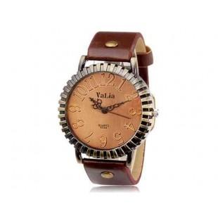 Валя 6548 Vintage круглый циферблат аналогового часы с искусственного кожаный ремешок (темно-коричневый)