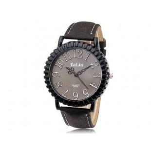 Валя 6548 Круглый циферблат аналоговых передач Дисплей Vintage & Стильные наручные часы с 68 Движения, Литые Дело ТПУ каучуковый ремешок (черный)