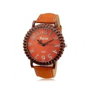 Валя 6548 Круглый циферблат аналоговых передач Дисплей Vintage & Стильные наручные часы с 68 Движения, Литые Дело ТПУ каучуковый ремешок (коричневый)