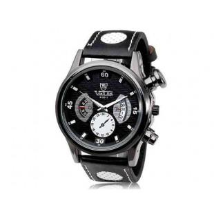 VALIA 9102 Dial аналоговый дисплей стильные наручные часы с 68 движения, сплава корпус, ремешок из каучука ТПУ (черный)