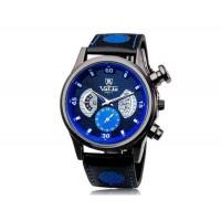 VALIA  9102 Круглый циферблат аналогового дисплея Стильный наручные часы с 68 Движения, случай сплава, ТПУ каучуковый ремешок (синий)